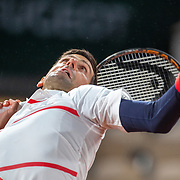 PARIS, FRANCE October 07.  Novak Djokovic of Serbia in action against Pablo Carreno Busta of Spain in the Quarter Finals of the singles competition on Court Philippe-Chatrier during the French Open Tennis Tournament at Roland Garros on October 7th 2020 in Paris, France. (Photo by Tim Clayton/Corbis via Getty Images)