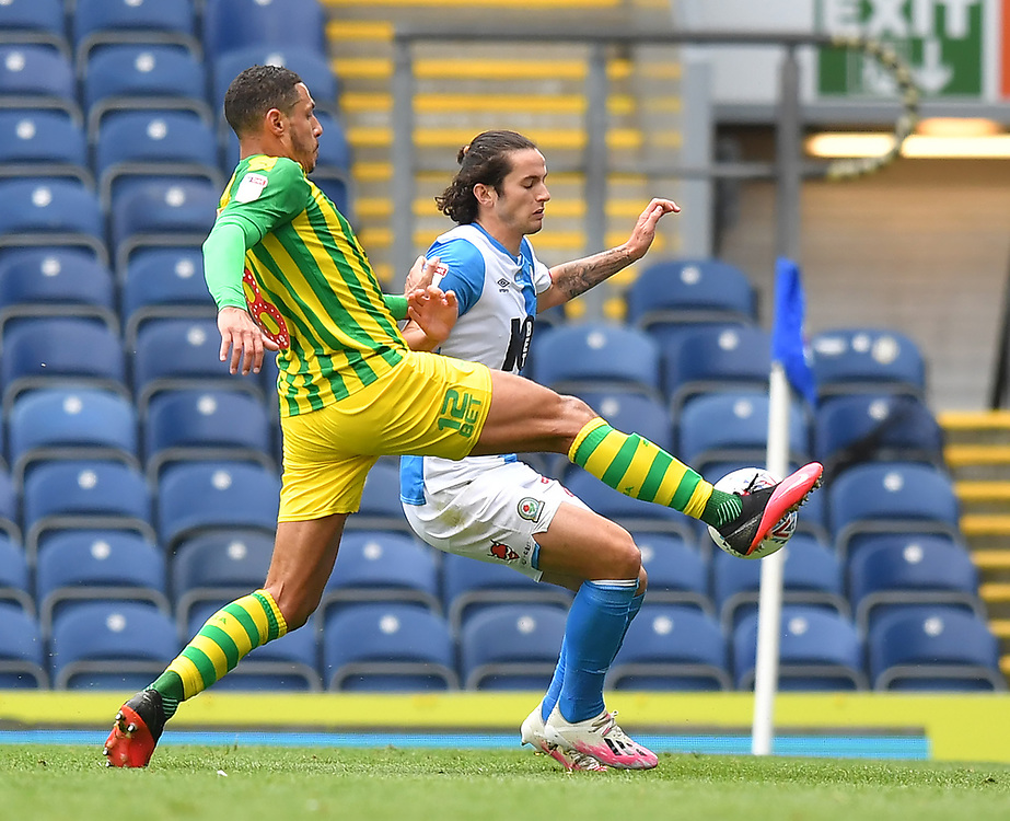 Blackburn Rovers' Joseph Rankin-Costello battles with West Bromwich Albion's Jake Livermore<br /> <br /> Photographer Dave Howarth/CameraSport<br /> <br /> The EFL Sky Bet Championship - Blackburn Rovers v West Bromwich Albion - Saturday 11th July 2020 - Ewood Park - Blackburn <br /> <br /> World Copyright © 2020 CameraSport. All rights reserved. 43 Linden Ave. Countesthorpe. Leicester. England. LE8 5PG - Tel: +44 (0) 116 277 4147 - admin@camerasport.com - www.camerasport.com