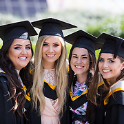 """25.08.2016          <br />  Faculty of Business, Kemmy Business School graduations at the University of Limerick today. <br /> <br /> Attending the conferring were graduates, Aisling Conway, BBs, Wicklow Town, Orla O'Hara, BA in International Studies, Castlebar Co. Mayo, Claire Cahill, BA in International Studies, Brosna Co. Kerry and Niamh Storan, BBs, Dooradoyle Co. Limerick. Picture: Alan Place.<br /> <br /> <br /> <br /> As the University of Limerick commences four days of conferring ceremonies which will see 2568 students graduate, including 50 PhD graduates, UL President, Professor Don Barry highlighted the continued demand for UL graduates by employers; """"Traditionally UL's Graduate Employment figures trend well above the national average. Despite the challenging environment, UL's graduate employment rate for 2015 primary degree-holders is now 14% higher than the HEA's most recently-available national average figure which is 58% for 2014"""". The survey of UL's 2015 graduates showed that 92% are either employed or pursuing further study."""" Picture: Alan Place"""