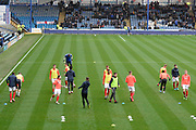 Portsmouth players warming up ahead of the EFL Sky Bet League 1 match between Portsmouth and Ipswich Town at Fratton Park, Portsmouth, England on 21 December 2019.