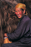 Milking yak<br /> Central Mongolia