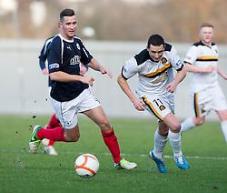 Falkirk's Kieran Duffie and Dumbarton's Nicky Phinn..half time : Dumbarton v Falkirk, 23/2/2013..©Michael Schofield.