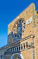 The 13th century Facade of the 9th century Romanesque Basilica Church of Santa Maria Maggiore, Tuscania .<br /> <br /> Visit our ITALY PHOTO COLLECTION for more   photos of Italy to download or buy as prints https://funkystock.photoshelter.com/gallery-collection/2b-Pictures-Images-of-Italy-Photos-of-Italian-Historic-Landmark-Sites/C0000qxA2zGFjd_k .<br /> <br /> Visit our MEDIEVAL PHOTO COLLECTIONS for more   photos  to download or buy as prints https://funkystock.photoshelter.com/gallery-collection/Medieval-Middle-Ages-Historic-Places-Arcaeological-Sites-Pictures-Images-of/C0000B5ZA54_WD0s