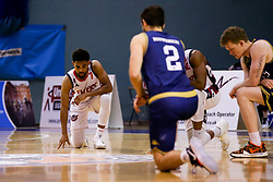 Bristol Flyers and Worcester Wolves take a knee for Black Lives Matter - Photo mandatory by-line: Robbie Stephenson/JMP - 02/12/2020 - BASKETBALL - University of Worcester Arena - Worcester, England - Worcester Wolves v Bristol Flyers - British Basketball League Cup