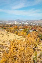 """""""Reno, Nevada in Autumn 1"""" - Photograph of fall colors shot from Audrey Harris Park with Downtown Reno in the background."""