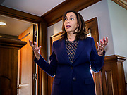 11 APRIL 2019 - DES MOINES, IOWA: US Senator KAMALA HARRIS, (D-CA) speaks at a house party meet and greet during her presidential campaign in Des Moines.  Sen Harris is one of the leading candidates to be Democratic nominee for the US Presidency. Iowa traditionally hosts the the first election event of the presidential election cycle. The Iowa Caucuses will be on Feb. 3, 2020.    PHOTO BY JACK KURTZ