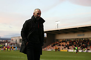Shaun Derry, the Cambridge United manager looks on. The Emirates FA Cup, 2nd round match, Newport County v Cambridge United at Rodney Parade in Newport, South Wales on Sunday 3rd December 2017.<br /> pic by Andrew Orchard,  Andrew Orchard sports photography.