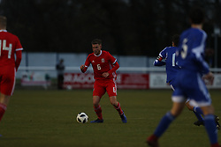 BANGOR, WALES - Tuesday, November 20, 2018: Wales' captain Brandon Cooper during the UEFA Under-19 Championship 2019 Qualifying Group 4 match between Wales and San Marino at the Nantporth Stadium. (Pic by Paul Greenwood/Propaganda)