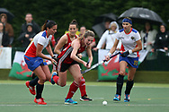 Phoebe Richards of Wales (c)  in action. Wales v Russia, semi final,  EuroHockey 11 Women's championshp 2017 in Cardiff, South Wales , Friday 11th August 2017<br /> pic by Andrew Orchard