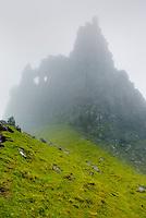 Rock pinnacle in fog on the Trotternish Peninsula, Isle of Skye Scotland