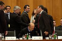 """09 JAN 2004, BERLIN/GERMANY:<br /> Joschka Fischer (L), B90/Gruene, Bundesaussenminister, begruesst Recep Tayyip Erdogan (R), Ministerpraesident Tuerkei, vor Beginn der Konferenz des Internationalen Bertelsmann-Forums """"Europa auf der Suche nach politischer Ordnung"""", Mitte: Jancz Drnovsek, Ministerpraesident Rumaenien, Auswaertiges Amt<br /> IMAGE: 20040109-02-009<br /> KEYWORDS: Bertelsmann Forum, Handshake"""