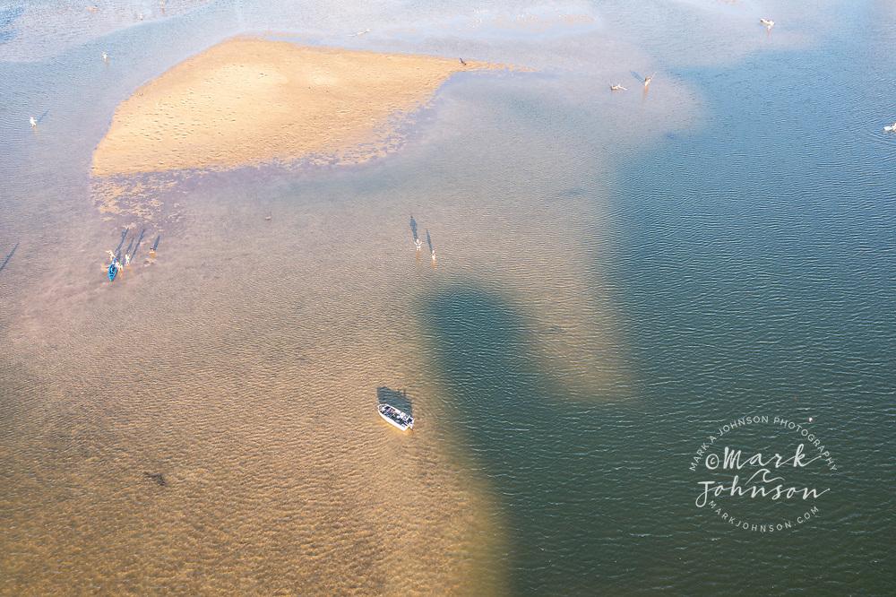 Aerial view of people fishing in Currimundi Lake, Sunshine Coast, Queensland, Australia