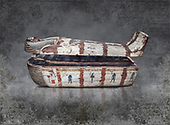 """Ancient Egyptian wooden sarcophagus - the coffin of Puia circa 1800BC - Thebes Necropolis. Egyptian Museum, Turin. <br /> <br /> From about 100BC """"anthropoid """" sarcophagi with fihure shaped lids started to replace rectangular coffins. Pia was probably the son of Puyemre, a high official of Thebes and second priest of Amon under the woman pharoah, Hatshepsut (1479-1458). The sarcophagus was excavated by Robert Mond from a shaft grave found close to the tomb of Puyemre in Thebes Necropolis."""