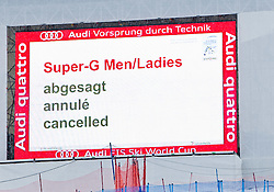 17.03.2011, Pista Silvano Beltrametti, Lenzerheide, SUI, FIS Ski Worldcup, Finale, Lenzerheide, Absage Feature Super-G, im Bild die beiden Super G-Rennen beim Finale in Lenzerheide wurden aufgrund schlechter Wetterbedigungen abgesagt.  die Videowall im Zielgelände mit der Aufschrift - Super-G Men/ladies abgesagt //  the two Super G Races in Lenzerheide are cancelled. pictured a Videowall shows that the Races are cancelled during Men´s Downhill, at Pista Silvano Beltrametti, in Lenzerheide, Switzerland, 17/03/2011, EXPA Pictures © 2011, PhotoCredit: EXPA/ J. Feichter
