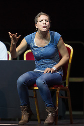 © Licensed to London News Pictures. 07/07/2016. LONDON, UK.  Comedienne , FRANCESCA MARTINEZ speaking at a rally in support of keeping Jeremy Corbyn remaining the Labour party leader at the Troxy in east London on 6th July 2016. The event was organised by Momentum, a group of Labour Party supporters who are campaigning for Jeremy Corbyn to remain as leader of the Labour Party, following the recent resignation of many shadow cabinet MP's and the growing likelihood of a Labour Party leadership challenge..  Photo credit: Vickie Flores/LNP