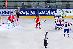 Slovenia scores during ice-hockey match between Slovenia and Hungary at IIHF World Championship DIV. I Group A Slovenia 2012, on April 18, 2012 in Arena Stozice, Ljubljana, Slovenia.  (Photo by Vid Ponikvar / Sportida.com)