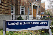 The entrance to Minet Library and Archives in the London borough of Lambeth, closing due to council cuts on April 1st 2016.