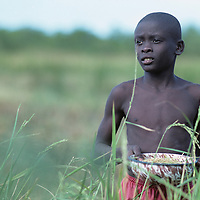 Haiti, Jacmel, Young boy harvest grain in field
