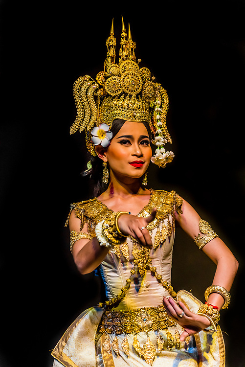 Robam Apsara (Apsara dance). Apsara are celestial female spririts, seen as the mothers of Khmer dances and symbols of Khmer culture). Traditional dance show presented by Cambodian Living Arts, National Museum of Cambodia, Phnom Penh, Cambodia.