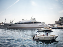 September 24, 2016 - Monaco, Monaco - Superyacht 'Lady Moura'' (105m) pictured in Port Hercules for the 26th Monaco Yacht Show with some 125 of the most desirable superyachts from around the world on display between 28 September and 1 October. The Monaco Yacht Show is held in Port Hercules, and is Europe's biggest in-water display of superyachts. (Credit Image: © Hugh Peterswald/Pacific Press via ZUMA Wire)