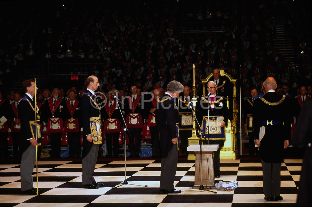 Prince Edward, The Duke of Kent at a Masonic ceremony at Earls Court in London..Freemasonry, which traces it's modern origins back to the sixteenth century is beased on principles of fraternity and secrecy. Members are sworn to keep silent on their activities and make themselves known to other Freemason's by way of signal (often a handshake).