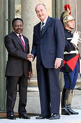 September 21, 2016 - Paris, France - JACQUES CHIRAC recoit le Pr√©sident du Gabon OMAR BONGO √† l'Elys√©e. (Credit Image: © Visual via ZUMA Press)
