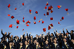 April 25, 2018 - Pingliang, Pingliang, China - Pingliang, CHINA-25th April 2018: Students attend the coming-of-age ceremony at Pingliang No.1 Middle School in Pingliang, northwest China's Gansu Province, April 25th, 2018, marking the upcoming World Youth Day. (Credit Image: © SIPA Asia via ZUMA Wire)