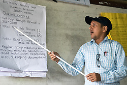 14 September 2018, Damak, Nepal: Thiru Prasad Ghimire presents the work of refugee self-help groups at the Beldangi refugee camp in the Jhapa district of Nepal, which hosts more than 5,000 Bhutanese refugees. On 12-19 September 2018, the Lutheran World Federation General Secretary Rev. Dr Martin Junge visits Nepal. He will participate in the 75th anniversary celebrations of the Nepal Evangelical Lutheran Church, an LWF member church, and visit development projects run by the church. He will also visit the LWF country program, which is involved in humanitarian relief and development work in a range of areas, supporting refugees, offering relief work to those most affected by the 2015 earthquake, flood victims, among other projects.