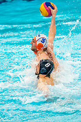 Guus van IJperen of the Netherlands in action against David Babic of France during the Olympic qualifying tournament. The Dutch water polo players are on the hunt for a starting ticket for the Olympic Games on February 17, 2021 in Rotterdam