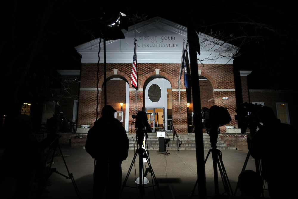 CHARLOTTESVILLE, VA - FEBRUARY 17:  The media waits outside the Charlottesville Circuit Court as the case is given to the jurors for the George Huguely trial. Huguely was charged in the May 2010 death of his girlfriend Yeardley Love. She was a member of the Virginia women's lacrosse team. Huguely pleaded not guilty to first-degree murder. (Credit Image: © Andrew Shurtleff/