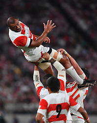 Japan's Michael Leitch (c) misjudges the restart during the Pool A match between Japan and Russia at the Tokyo Stadium, Tokyo, Japan. Picture date: Friday September 20, 2019. See PA story RUGBYU Japan. Photo credit should read: Ashley Western/PA Wire. RESTRICTIONS: Editorial use only. Strictly no commercial use or association. Still image use only. Use implies acceptance of RWC 2019 T&Cs (in particular Section 5 of RWC 2019 T&Cs) at: https://bit.ly/2knOId6