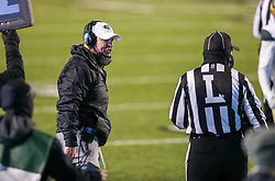 Dec 18, 2020; Huntington, West Virginia, USA; UAB Blazers head coach Bill Clark yells at an official during the first quarter against the Marshall Thundering Herd at Joan C. Edwards Stadium. Mandatory Credit: Ben Queen-USA TODAY Sports