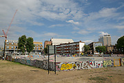 Regeneration of Thrayle House next to Stockwell skate park in Lambeth on 29th July 2015 in South London, United Kingdom.