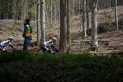 Rozanne Slik through the trees at the Liege-Bastogne-Liege Femmes - a 135.5 km road race between Bastogne and Ans on April 23 2017 in Liège, Belgium.