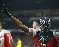 March 14, 2019 - London, England, United Kingdom - Pierre-Emerick Aubameyang of Arsenal celebrate with a mask.during Europa League Round of 16 2nd Leg  between Arsenal and Rennes at Emirates stadium , London, England on 14 Mar 2019. (Credit Image: © Action Foto Sport/NurPhoto via ZUMA Press)