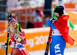 PYEONGCHANG-GUN, SOUTH KOREA - FEBRUARY 21: Silver medalist Ragnhild Mowinckel of Norway and Gold medalist Sofia Goggia of Italy during the venue victory ceremony following the Ladies Downhill at Jeongseon Alpine Centre on February 21, 2018 in Pyeongchang-gun, South Korea. Photo by Ronald Hoogendoorn / Sportida