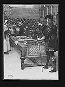 Trial of Charles I, January 1649. Charles ! (1600-1649) king of Great Britain and Ireland from 1625 on trial by Parliament in Westminster Hall, London. Charles, as an absolute monarch, did not accept the authority of the court and his refusal to plead was construed as a guilty plea.