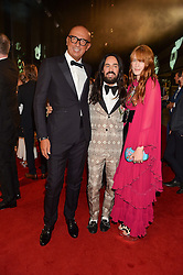 Left to right, MARCO BIZZARRI, ALESSANDRO MICHELE and FLORENCE WELCH at the GQ Men of The Year Awards 2016 in association with Hugo Boss held at Tate Modern, London on 6th September 2016.