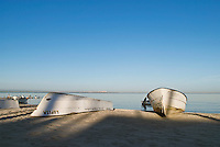 Small boats on beach at the Sea of Cortez, La Paz, Baja, Mexico