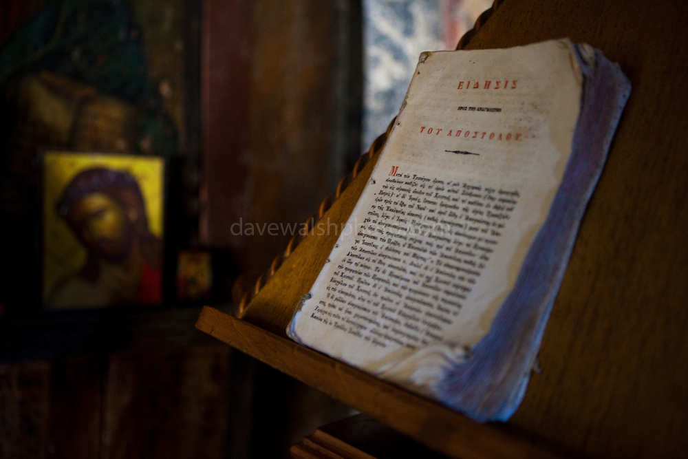 Dogeared Greek bible in the 10th century Byzantine chapel of Agios Stefanos, Drakona, Crete, Greece
