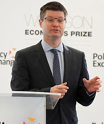 Wolfson Economics Prize. Lord Wolfson speaks on behalf of The Wolfson Economics Prize at The Policy Exchange in London on April 3rd 2012. Photo By Ki Price/i-Images