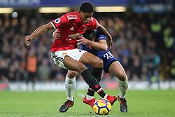 5 November 2017 - Premier League Football - Chelsea v Manchester United - Marcus Rashford of Man Utd and Cesar Azpilvcueta of Chelsea battle for the ball - Photo: Charlotte Wilson / Offside