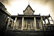 Facade of an old deserted temple in Battambang, Cambodia, 2012, Southeast Asia