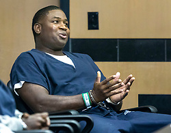 October 3, 2018 - West Palm Beach, Florida, U.S. - DENNIS HART smiles after the judge signed papers which will lead to him being released after serving roughly 21 years of a 30-year sentence for committing three armed robberies in 1997 when he was 17. His attorneys have long argued that the sentence was improper given his age and the nature of the crimes. Finally, the courts agreed. (Credit Image: © Lannis Waters/The Palm Beach Post via ZUMA Wire)