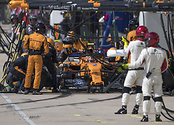 October 21, 2018 - Austin, USA - McLaren driver Stoffel Vandoorne (2) of Belgium makes a late pit stop during the Formula 1 U.S. Grand Prix at the Circuit of the Americas in Austin, Texas on Sunday, Oct. 21, 2018. (Credit Image: © Scott Coleman/ZUMA Wire)