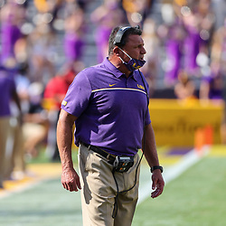 Sep 26, 2020; Baton Rouge, Louisiana, USA; LSU Tigers head coach Ed Orgeron against the Mississippi State Bulldogs during the first half at Tiger Stadium. Mandatory Credit: Derick E. Hingle-USA TODAY Sports