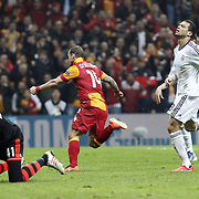 Galatasaray's Wesley Sneijder (C) celebrate his goal during their UEFA Champions League Quarter-finals, Second leg match Galatasaray between Real Madrid at the TT Arena AliSamiYen Spor Kompleksi in Istanbul, Turkey on Tuesday 09 April 2013. Photo by Aykut AKICI/TURKPIX