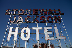 Stonewall Jackson Hotel neon sign Staunton Virginia