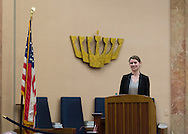 """Merrick, New York, USA. January 21, 2015. JANE BRADEN-GOLAY, from Schaffhausen, Switzerland, and President of the European Union of Jewish Students, is speaking at the Merrick Jewish Centre the night before she is scheduled to address - upon the invitation of Ambassador Samantha Power, U.S. Permanent Representative to the United Nations - ambassadors and civil rights leaders at Rep. Power's residence, after the first United Nations General Assembly meeting on rise of anti-Semitic violence worldwide. When asked about recent terror attacks in France (against French satirical weekly newspaper Charlie Hebdo in Paris), Braden-Golay said, """"It's all still so very fresh.... Europe is in a shock state right now"""" but that she hoped in weeks to come """"for all of us to take responsibility for creating a Europe that doesn't give room to this sort of terror again."""" AJC Long Island and Merrick Jewish Centre presented the event """"Terrorism in France - Where Do We Go From Here?"""" with speaker Braden-Golay, a senior at the University of Zurich."""