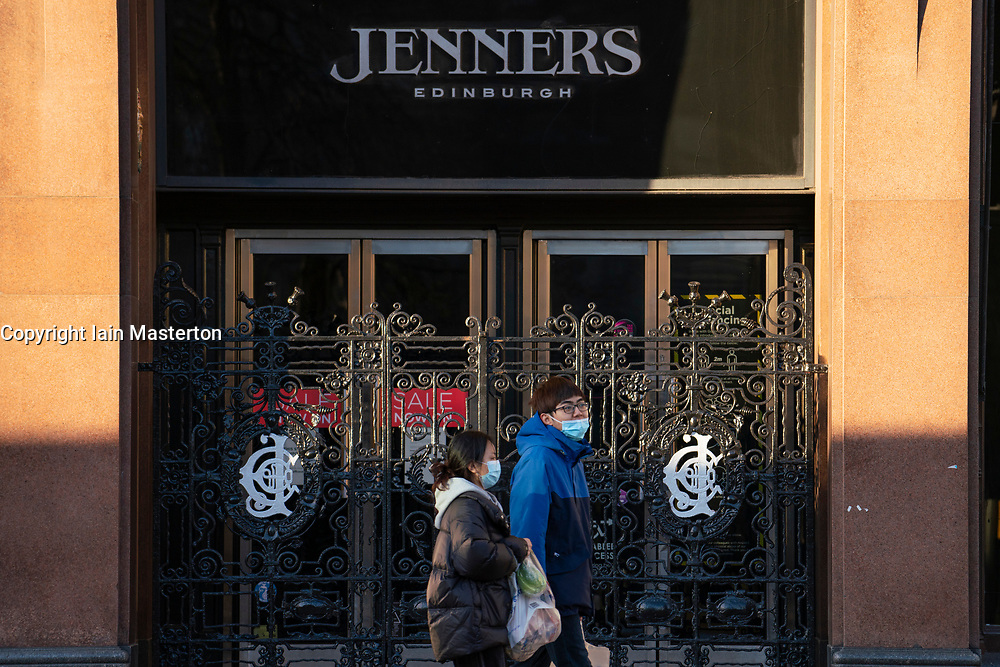 Edinburgh, Scotland, UK. 25 January 2020. Jenners department store on Princes Street in Edinburgh announces it is to close permanently on 3 May with loss of 200 jobs. Frasers, its owner, says it's failed to agree on rent with building owner Anders Polvsen. Pic; members of the public walks past closed Jenners store today. Iain Masterton/Alamy Live News